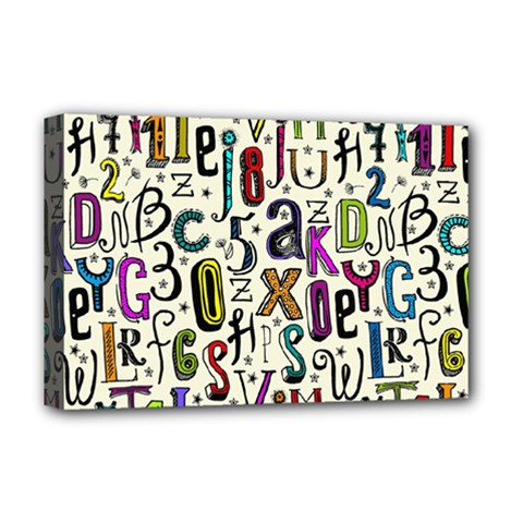 Colorful Retro Style Letters Numbers Stars Deluxe Canvas 18  X 12