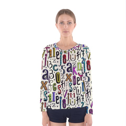 Colorful Retro Style Letters Numbers Stars Women s Long Sleeve Tee by EDDArt