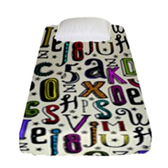 Colorful Retro Style Letters Numbers Stars Fitted Sheet (single Size) by EDDArt