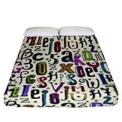 Colorful Retro Style Letters Numbers Stars Fitted Sheet (california King Size) by EDDArt