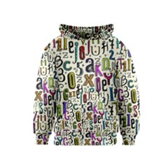 Colorful Retro Style Letters Numbers Stars Kids  Pullover Hoodie by EDDArt