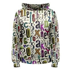 Colorful Retro Style Letters Numbers Stars Women s Pullover Hoodie
