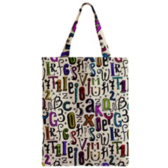 Colorful Retro Style Letters Numbers Stars Zipper Classic Tote Bag by EDDArt