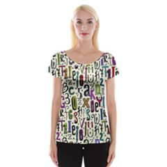 Colorful Retro Style Letters Numbers Stars Women s Cap Sleeve Top by EDDArt
