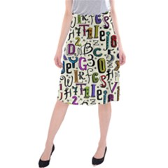 Colorful Retro Style Letters Numbers Stars Midi Beach Skirt by EDDArt