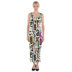 Colorful Retro Style Letters Numbers Stars Fitted Maxi Dress by EDDArt