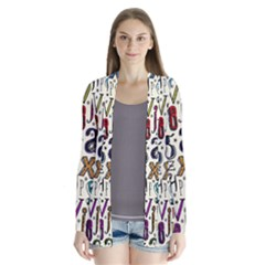 Colorful Retro Style Letters Numbers Stars Cardigans by EDDArt