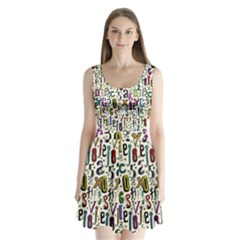 Colorful Retro Style Letters Numbers Stars Split Back Mini Dress  by EDDArt