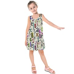 Colorful Retro Style Letters Numbers Stars Kids  Sleeveless Dress by EDDArt