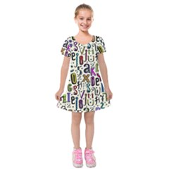 Colorful Retro Style Letters Numbers Stars Kids  Short Sleeve Velvet Dress by EDDArt