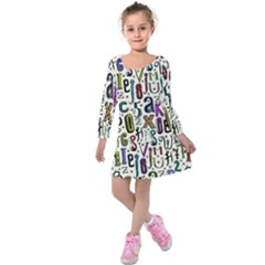 Colorful Retro Style Letters Numbers Stars Kids  Long Sleeve Velvet Dress by EDDArt