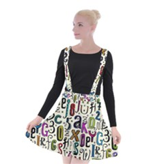 Colorful Retro Style Letters Numbers Stars Suspender Skater Skirt by EDDArt