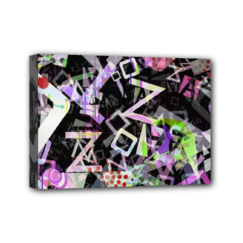 Chaos With Letters Black Multicolored Mini Canvas 7  X 5  by EDDArt