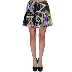 Chaos With Letters Black Multicolored Skater Skirt by EDDArt