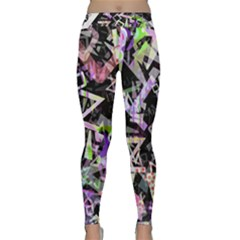 Chaos With Letters Black Multicolored Classic Yoga Leggings by EDDArt