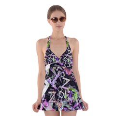 Chaos With Letters Black Multicolored Halter Swimsuit Dress by EDDArt