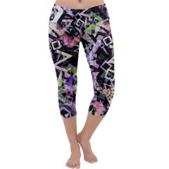 Chaos With Letters Black Multicolored Capri Yoga Leggings by EDDArt