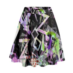Chaos With Letters Black Multicolored High Waist Skirt by EDDArt