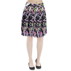 Chaos With Letters Black Multicolored Pleated Skirt by EDDArt