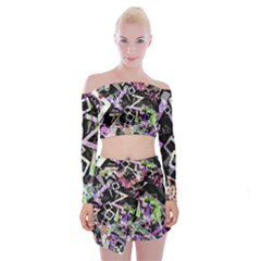 Chaos With Letters Black Multicolored Off Shoulder Top With Skirt Set by EDDArt
