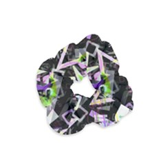 Chaos With Letters Black Multicolored Velvet Scrunchie by EDDArt