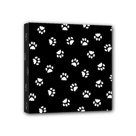 Footprints Cat White Black Mini Canvas 4  X 4  by EDDArt