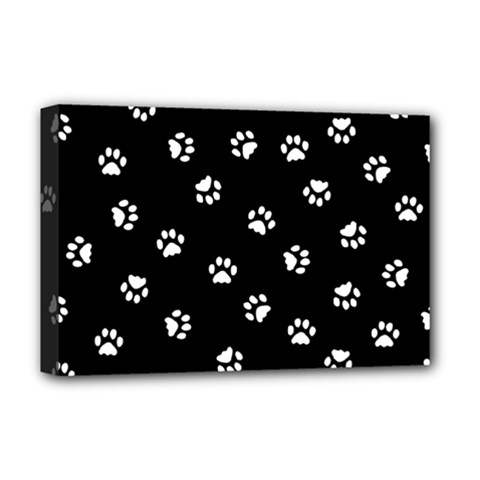 Footprints Cat White Black Deluxe Canvas 18  X 12   by EDDArt