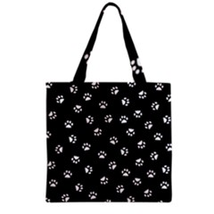 Footprints Cat White Black Grocery Tote Bag by EDDArt