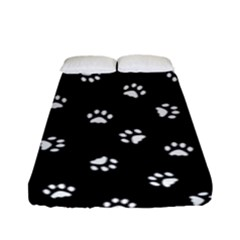 Footprints Cat White Black Fitted Sheet (full/ Double Size) by EDDArt