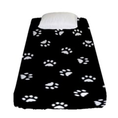Footprints Cat White Black Fitted Sheet (single Size) by EDDArt