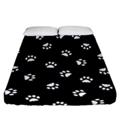 Footprints Cat White Black Fitted Sheet (queen Size) by EDDArt