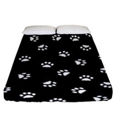 Footprints Cat White Black Fitted Sheet (king Size) by EDDArt
