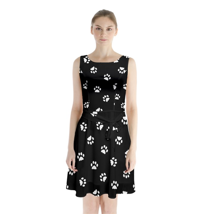 Footprints Cat White Black Sleeveless Waist Tie Chiffon Dress