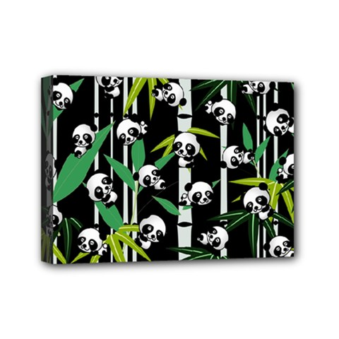 Satisfied And Happy Panda Babies On Bamboo Mini Canvas 7  X 5  by EDDArt