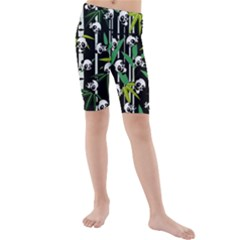 Satisfied And Happy Panda Babies On Bamboo Kids  Mid Length Swim Shorts by EDDArt
