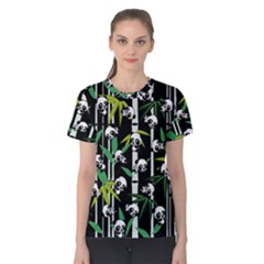 Satisfied And Happy Panda Babies On Bamboo Women s Cotton Tee by EDDArt