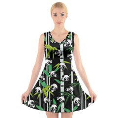 Satisfied And Happy Panda Babies On Bamboo V Neck Sleeveless Skater Dress by EDDArt