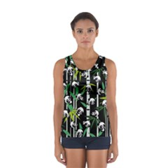 Satisfied And Happy Panda Babies On Bamboo Women s Sport Tank Top  by EDDArt