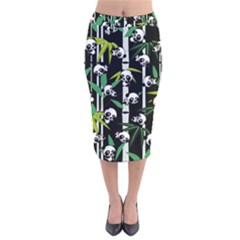 Satisfied And Happy Panda Babies On Bamboo Velvet Midi Pencil Skirt by EDDArt