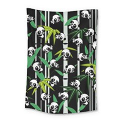 Satisfied And Happy Panda Babies On Bamboo Small Tapestry by EDDArt