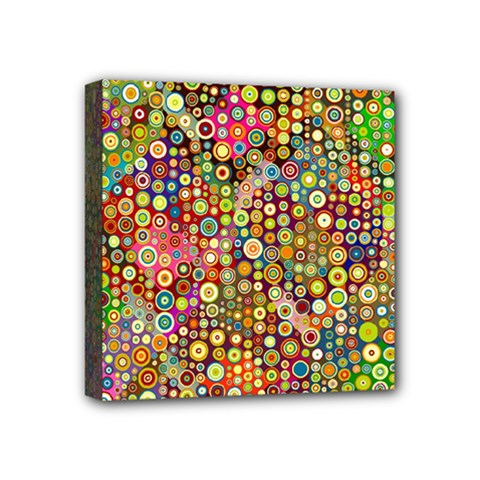 Multicolored Retro Spots Polka Dots Pattern Mini Canvas 4  X 4  by EDDArt