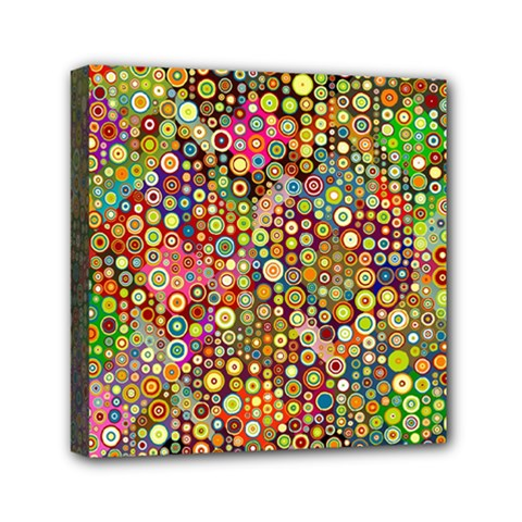 Multicolored Retro Spots Polka Dots Pattern Mini Canvas 6  X 6  by EDDArt