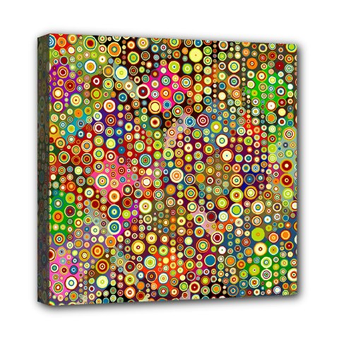 Multicolored Retro Spots Polka Dots Pattern Mini Canvas 8  X 8  by EDDArt
