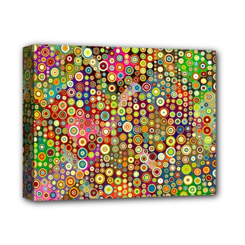 Multicolored Retro Spots Polka Dots Pattern Deluxe Canvas 14  X 11  by EDDArt