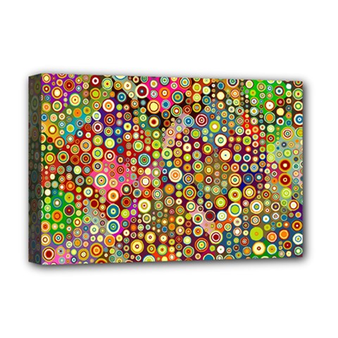 Multicolored Retro Spots Polka Dots Pattern Deluxe Canvas 18  X 12   by EDDArt