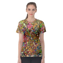 Multicolored Retro Spots Polka Dots Pattern Women s Sport Mesh Tee by EDDArt