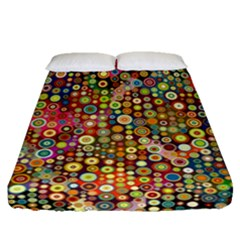 Multicolored Retro Spots Polka Dots Pattern Fitted Sheet (queen Size) by EDDArt