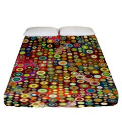 Multicolored Retro Spots Polka Dots Pattern Fitted Sheet (king Size) by EDDArt