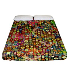 Multicolored Retro Spots Polka Dots Pattern Fitted Sheet (california King Size) by EDDArt