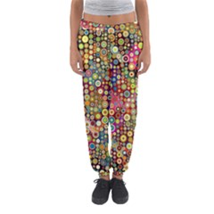 Multicolored Retro Spots Polka Dots Pattern Women s Jogger Sweatpants by EDDArt